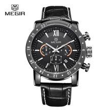 Megir CHRONOGRAPH 24 Hours Function Sport Watches Business Watches Leather Men Wristwatch Men Casual Watches relogio 3008-1