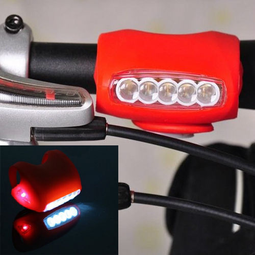 Cycling Bike Bicycle Red Silicone 7 LED Super Front Light Rear Lamp - Outdoor sports cycling equipment store