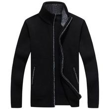 Sweaters Men Winter Cardigan Warm Thick Velvet Cashmere Zipper Mandarin Collar Man Casual Clothes Pattern Knitwear Big Size 3xl(China)