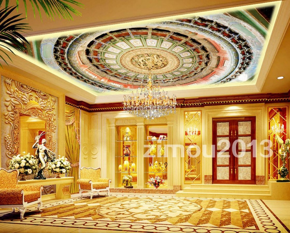 European perspective ceiling artistic stereoscopic 3d for Ceiling mural wallpaper