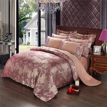 New Jacquard Luxury Wedding 4pcs Bedding Set Bed Linen Silk Cotton blue Duvet quilts Cover Lace Satin Bed Sheet Set Pillowcases(China)