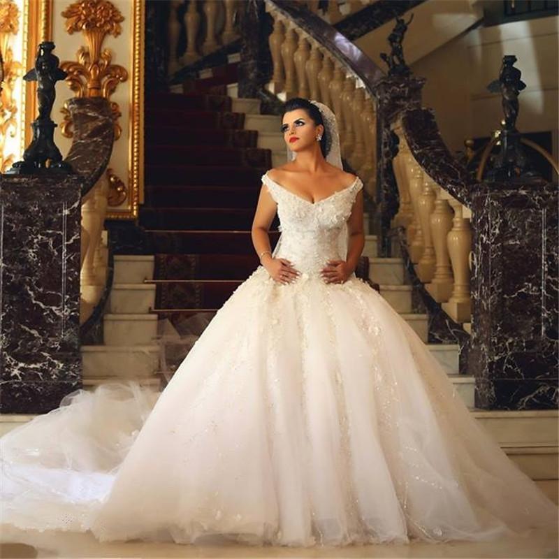 Modern V Neck Wedding Dress : Modern new stylish sexy white v neck beaded lace