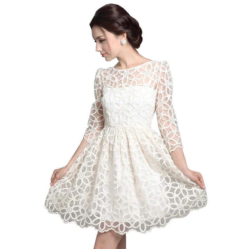 Cute Dresses Cheap 2015 Casual Women Desigual White Lace Party Lolita Dress Vintage 50S 60S Vestido De Renda Plus Size Clothing(China (Mainland))