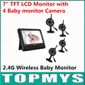 Free shipping wireless 7 TFT LCD Monitor with 4 Baby monitor Camera 4CH QUAD DVR Security