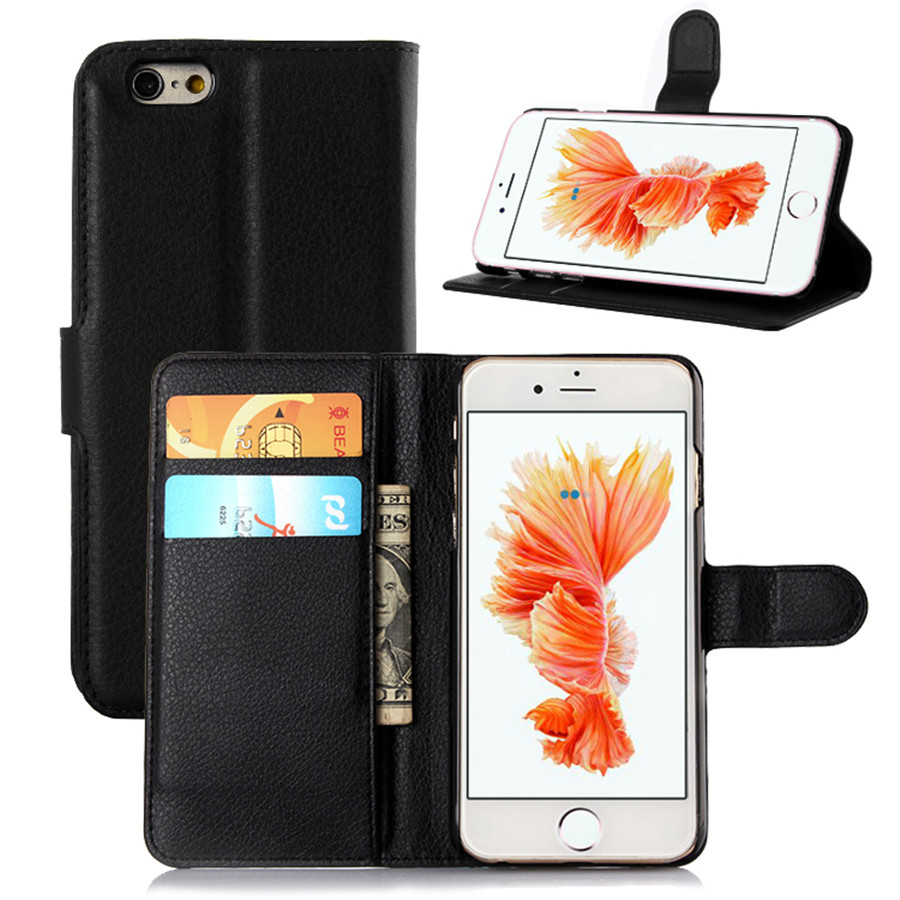 """4.7"""" Luxury Lychee Print PU Leather Case For Apple iPhone 6 6s 4.7"""" Flip Stand Wallet Phone Shell Back Cover With Card Holder(China (Mainland))"""