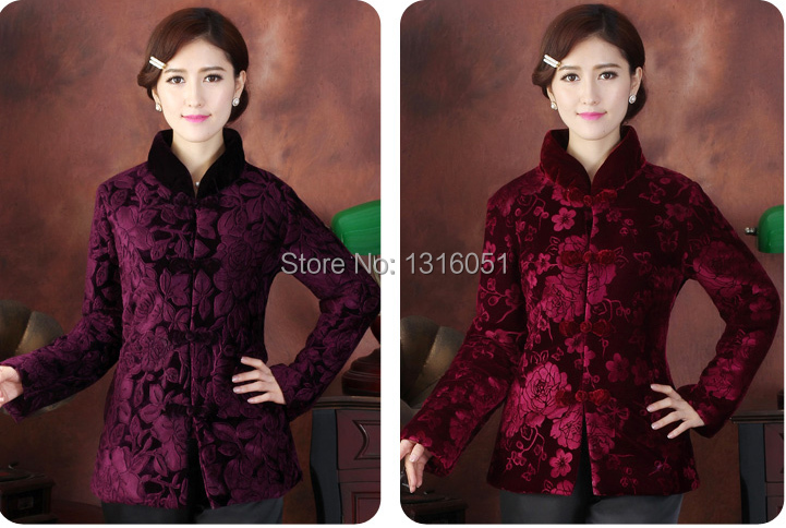 Free Shipping!New Arrival Winter Chinese Women's Velour Thin Wadded Jacket Outwear M L XL XXL 3XL 4XL WHB2014-7(China (Mainland))