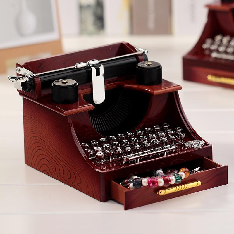 Retro Typewriter Music Box Vintage Music Box Jewelry Box