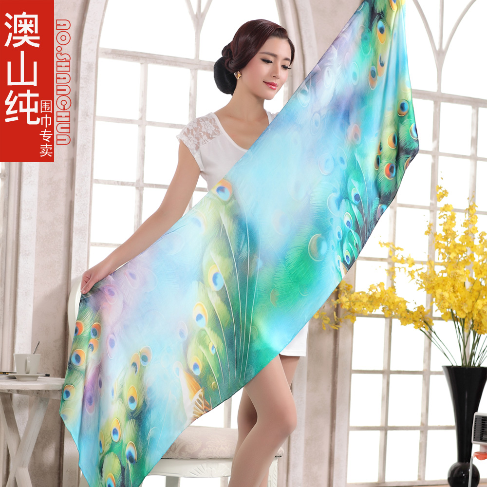 2014 Women Pure Silk Blue Scarf Autumn Winter Mulberry Silk Long Silk Scarf Shawl New Design Peacock Feather 100% Silk Scarves(China (Mainland))