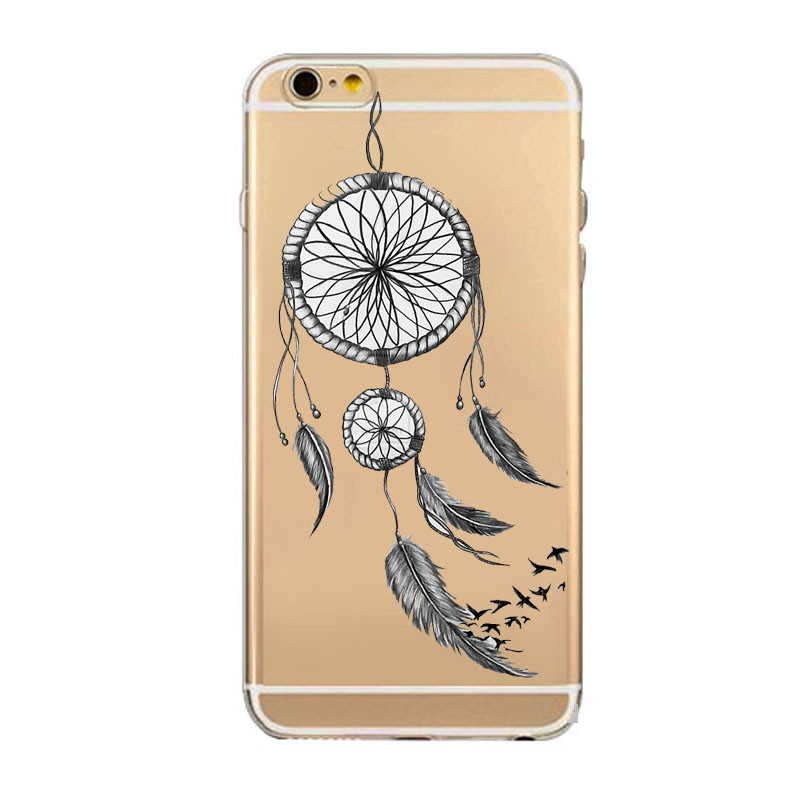 Solid Color Cat Dream Catcher Phone Cases For iPhone 5C 5S 6S Plus 7 7Plus New Arrival Luxury Silicone Clear Soft Back Cover