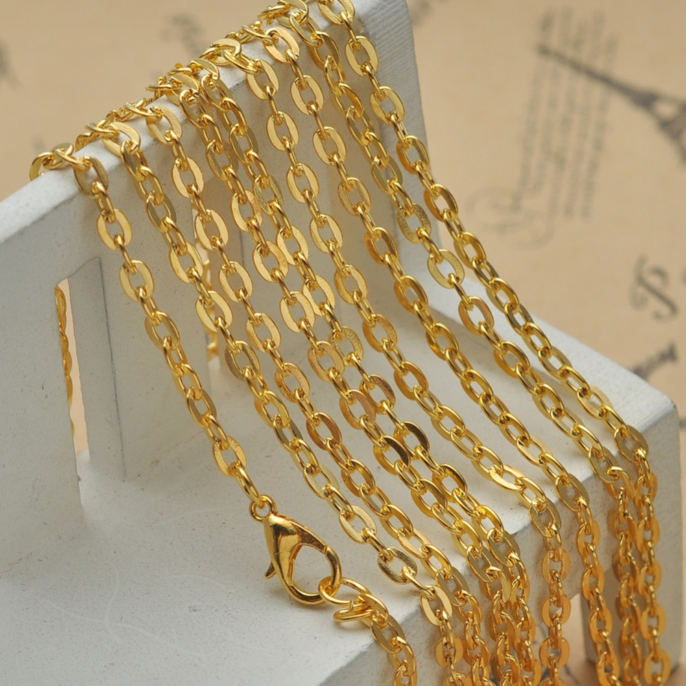 Wholesale 50 Pcs SP Lobster Clasp Link Chain Necklaces Brass Curb Chain Necklace Jewelry Findings in Bulk(China (Mainland))