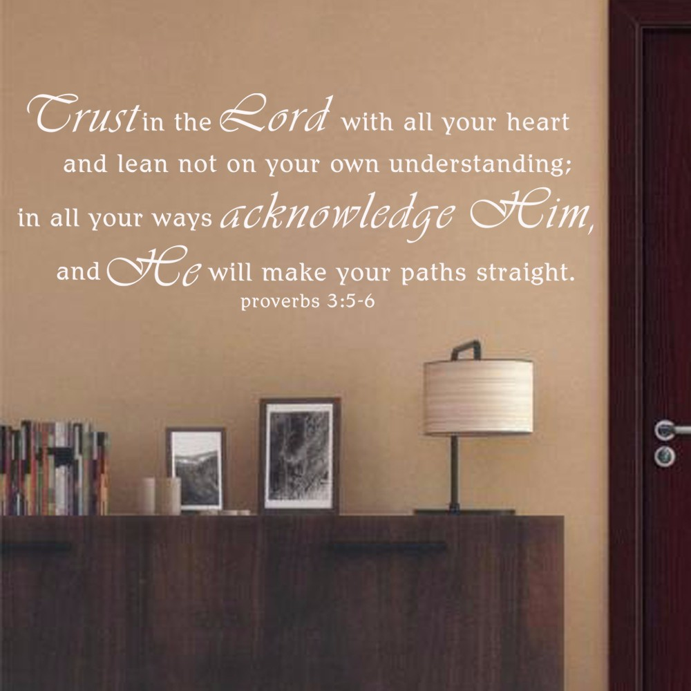 scripture wall decals trust in the lord proverbs 3 5 6 vinyl wall words decal bible verse decor. Black Bedroom Furniture Sets. Home Design Ideas