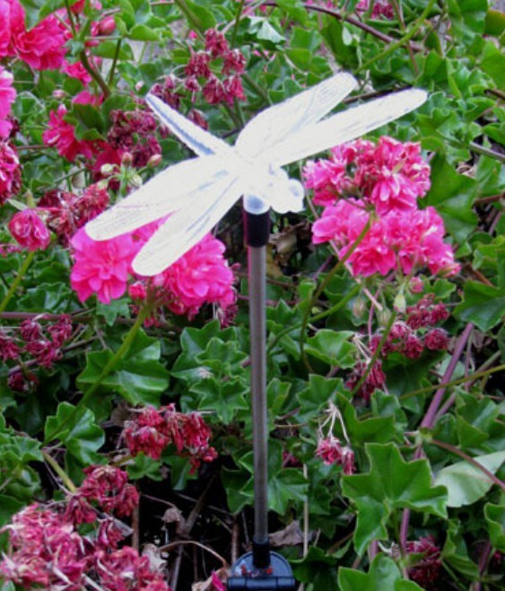 NEW Solar Powered Dragonfly Garden Decoration Stake Yard Color Changing LED light FREE SHIPPING(China (Mainland))