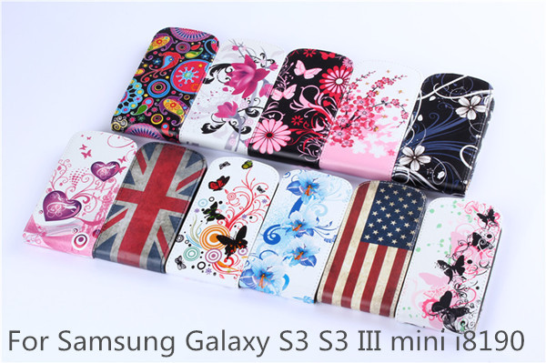 Samsung Galaxy S3 S 3 III mini i8190 Gt-i8190 Cute PINK Flowers Flip PU Leather Phone Cover Cases Case - Nordson Digital store
