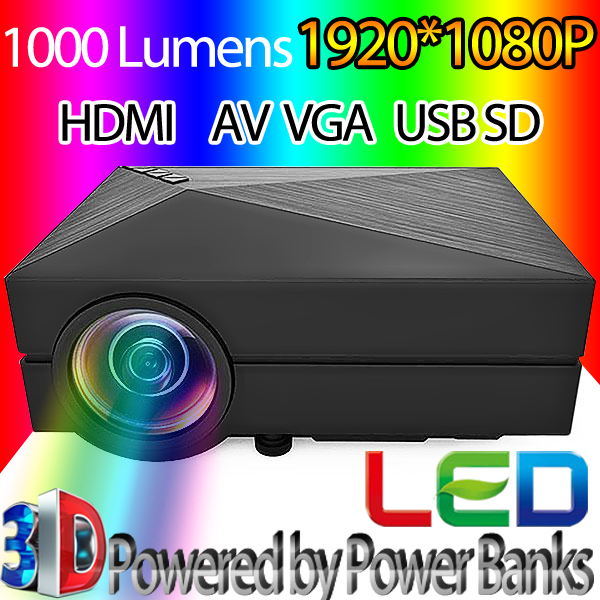 Original GM60 Mini Projector LCD 1000LM 1920 x 1080 Resolution AV USB 2.0 HDMI VGA SD Home theater cinema projector proyector(China (Mainland))