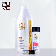 PURC Shampoo for keratin hair treatment hair care set hot sale 1000ml chocolate 8% formalin keratin repair damaged hair