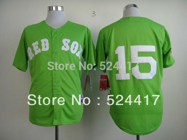 Top free shipping cheap 2015 Baseball Jerseys Boston Red Sox 15 Dustin Pedroia green men's stitched baseball jersey, size M-3XL(China (Mainland))
