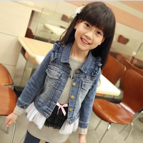 2015 spring autumn girl casual cowboys jacket kids pearl mesh lace denim fashion girls coat - Pandamall bag store