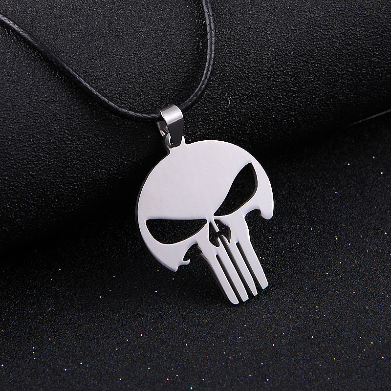 Silver Chain Men Jewelry MARVEL SUPER HERO SKULL The PUNISHER DARK KNIGHT Stainless Steel silver Chain Pendant Necklace Misscici(China (Mainland))
