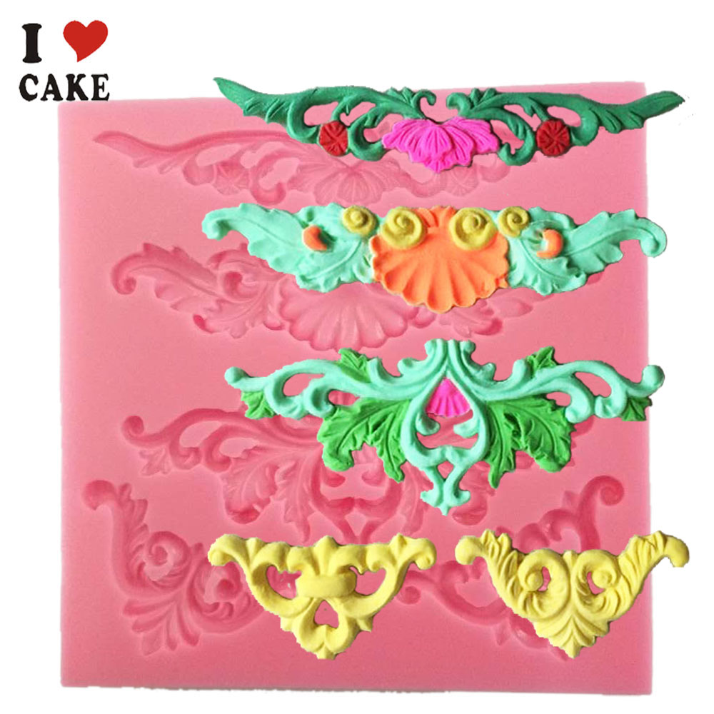 European relief lace mold fondant cake molds chocolate mould for the kitchen baking Silicone Sugar Decoration(China (Mainland))