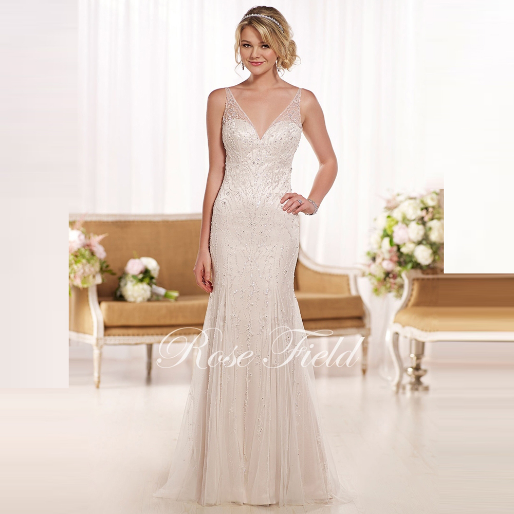 Sl 0210974 luxurious sheath v neck beaded sexy backless for Sexy sheath wedding dress