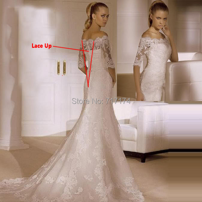 New arrival off the shoulder half sleeves applique lace for Cheap lace wedding dresses with sleeves