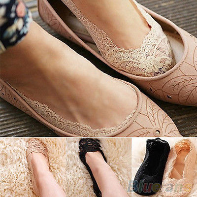 2017 New Fashion Women's Cotton Lace Antiskid Invisible Liner Low Cut Socks