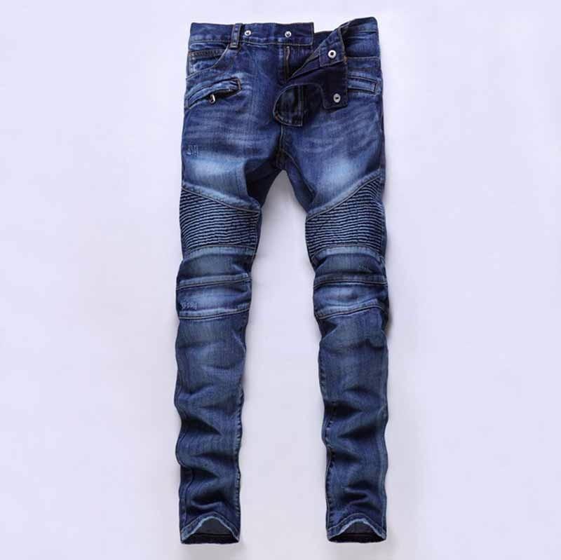 Plus Size Designer Mens Biker Jeans Blue Men Elastic Ripped moto jeans High Quality Winter Warm Skinny jean homme Brand Clothing