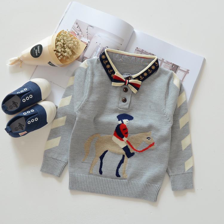 Hot 2016 autumn baby kids knitted sweaters boys sweaters children fashion cartoon horse sweater(China (Mainland))