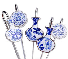 Fashion blue and white porcelain bookmark classical china porcelain gifts with box 12pcs/lot mix order free shipping random(China (Mainland))
