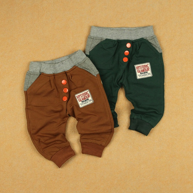 Spring children's infant clothing big pp trousers pants male female child children loop pile cotton dual-use trousers