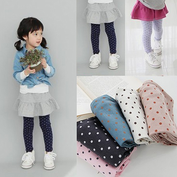 New Fashion Kid Toddler Baby Gilrs Polka Dot Soft School Stretch Pant Trousers Leggings 2-6Y