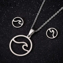 SMJEL acier inoxydable bijoux ensemble à la mode carte du monde colliers pendentifs jour de la terre cadeau bijoux femme Wanderlust boucles d'oreilles en plein air(China)
