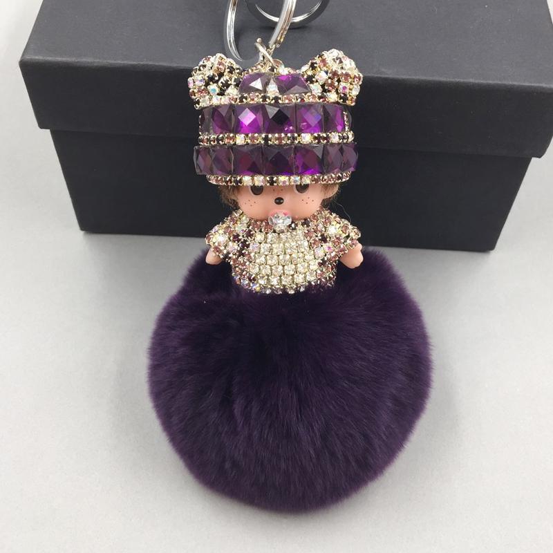 Free shipping keyeing Cute Monchichi doll Key chain Sleutelhanger Rhinestone Rex Rabbit Fur Ball Pom Pom Women Key Holder(China (Mainland))