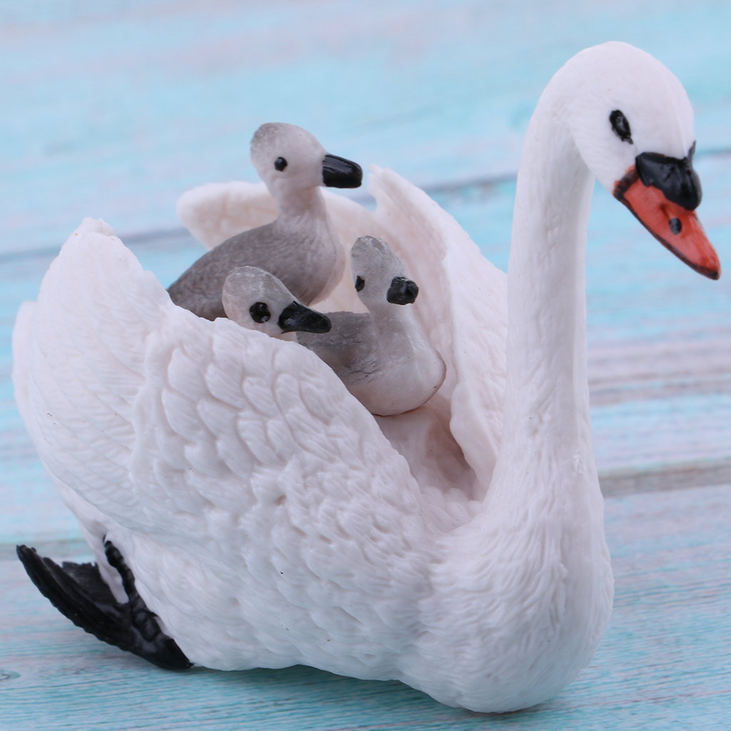 Realistic White Swan with Babies Figurines Animal Figures, Easter Eggs Cake Toppers Christmas Birthday Gift