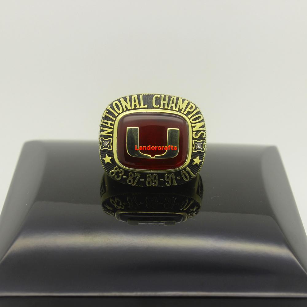 1983 1987 1989 1991 2001 Miami hurricanes fans ncaa college football National Championship Rings(China (Mainland))