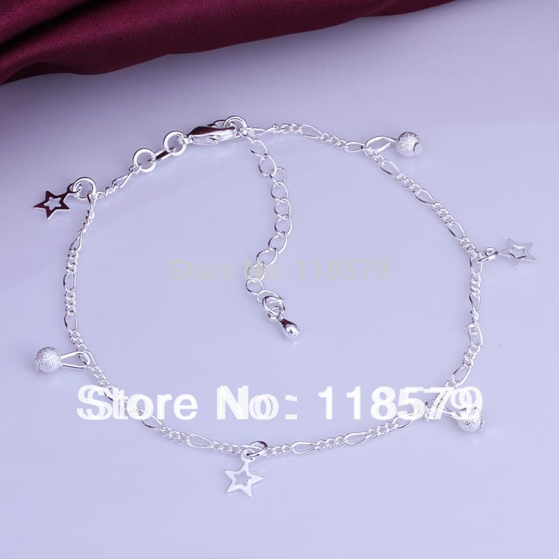 Fashion Jewelry 925 Silver Anklet Figaro Chain Pentacle Star Pendant Anklets Ankle Bracelet High Quality Factory Price MDA005(China (Mainland))