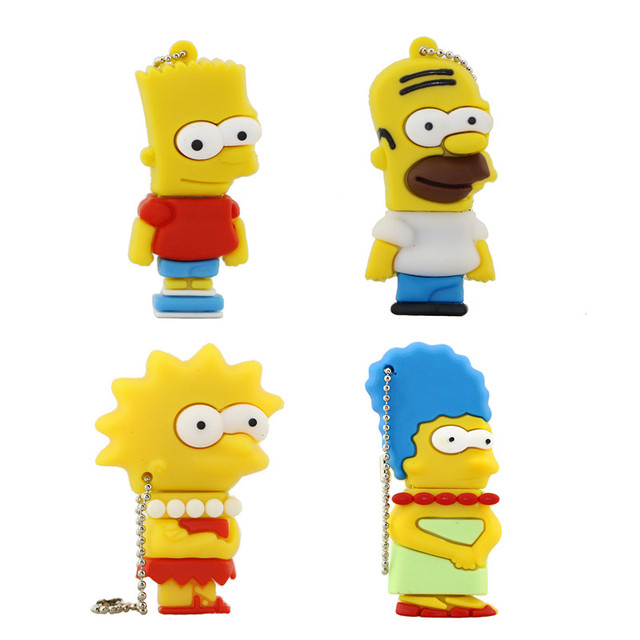 Cartoon Simpson Homer Bart USB Flash Drive 1GB 2GB 4GB 8GB 16GB 32GB USB Pen Drive Memory Stick Pen Drive Free Shipping USB Disk
