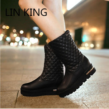 LIN KING New Flat Thick Sole Women Snow Boots Plaid Solid Fashion Warm Plush Lady Boots Preppy Style Girls Winter Shoes Big Size(China (Mainland))