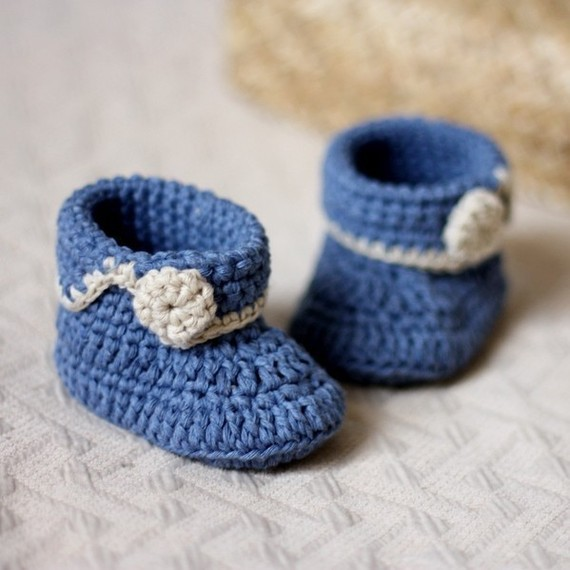 Free Shipping Handmade Crochet Pattern Baby Shoes Blue Short Cuff