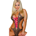 Open Crotch Sexy Women Charming Siamese leopard patent leather Halter Neck Lace Up Backless Lingerie Costumes
