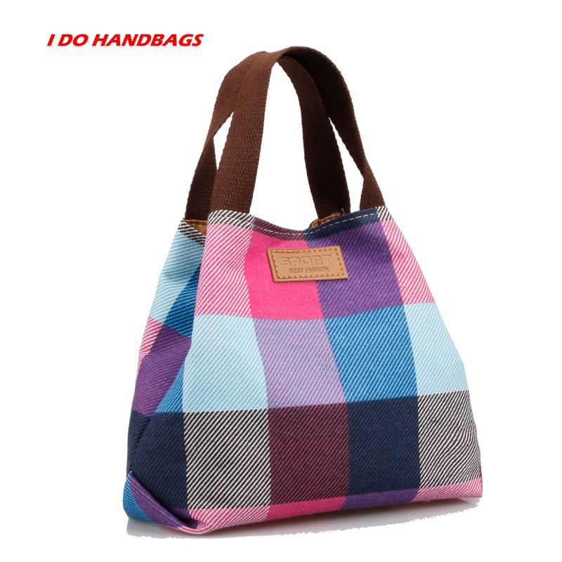 New! Nine Color Square Cross-section Preppy Style Canvas Plaid Printing Handbag Hasp Shoulder Bag For women.(China (Mainland))