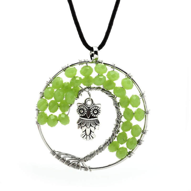 Fashion 2016 F Natural Handmade 7 Chakra Stone Tree of Life Crystal Pendant Necklace Plated In Gift Box for Women Long Jewelry(China (Mainland))