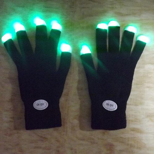 Newest LED Rave Flashing Gloves Glow 7 Mode Light Up Finger Lighting Black Gloves(China (Mainland))
