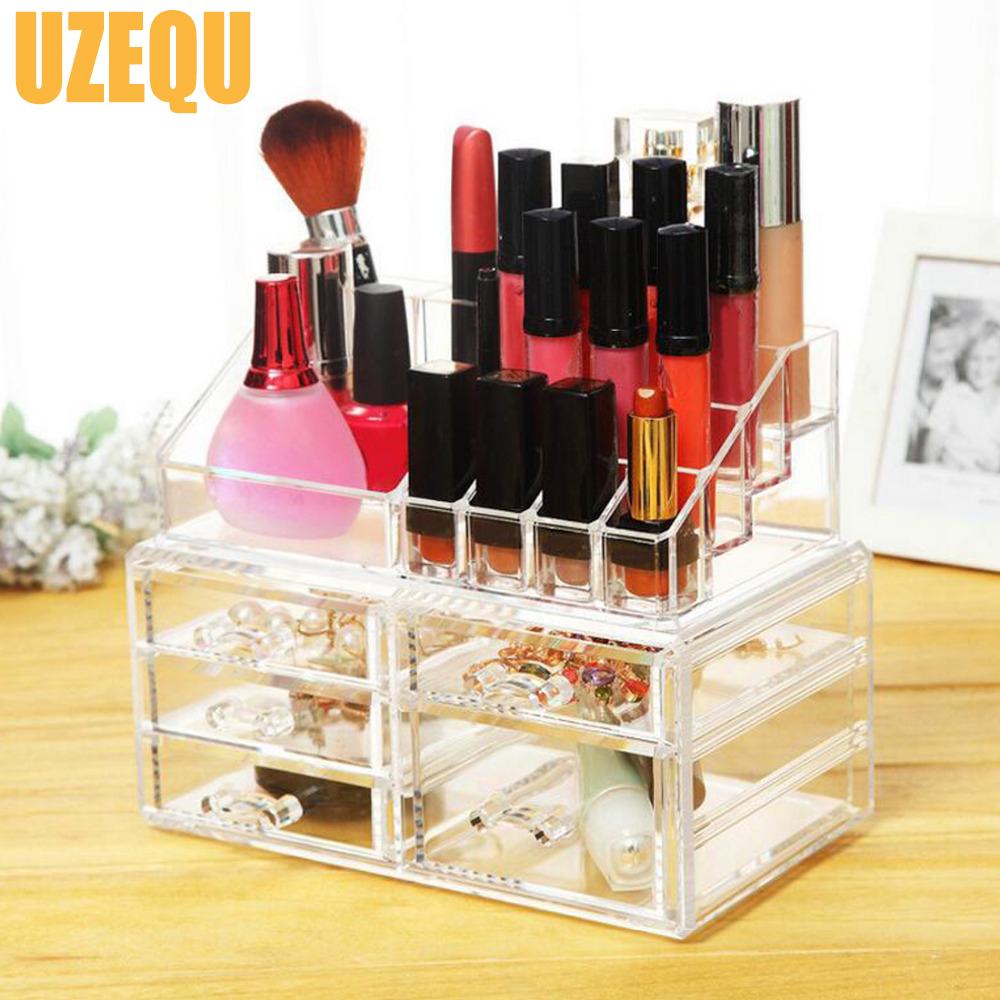 UzeQu Transparent Makeup Organizer Storage Box Acrylic Nail Polish Display Rack Cosmetic Organizer Storage Drawer Jewelry Box(China (Mainland))