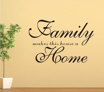 Family Make This House A Home Removable Vinyl PVC Wall Sticker DIY 3D Art Room Mural Wall Decal Quotes Decoration Black