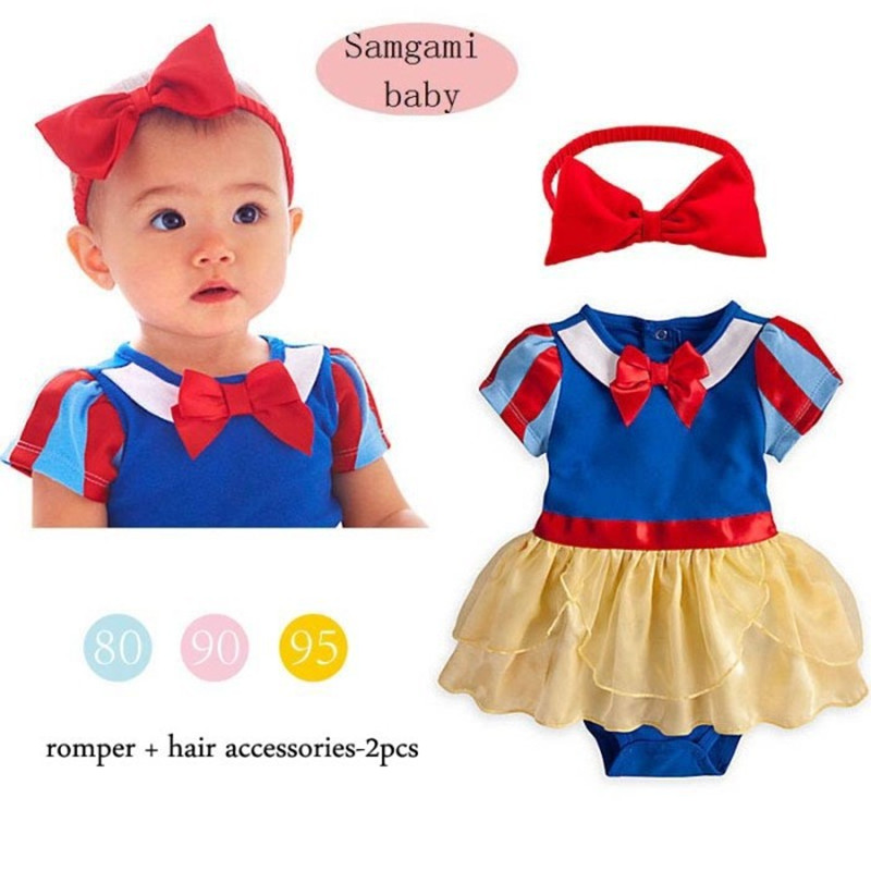 2016 Baby Girl Dress Snow White Princess Toddler Infant Puff Costume Romper + Headband Suit Clothing - STARRY JADE store