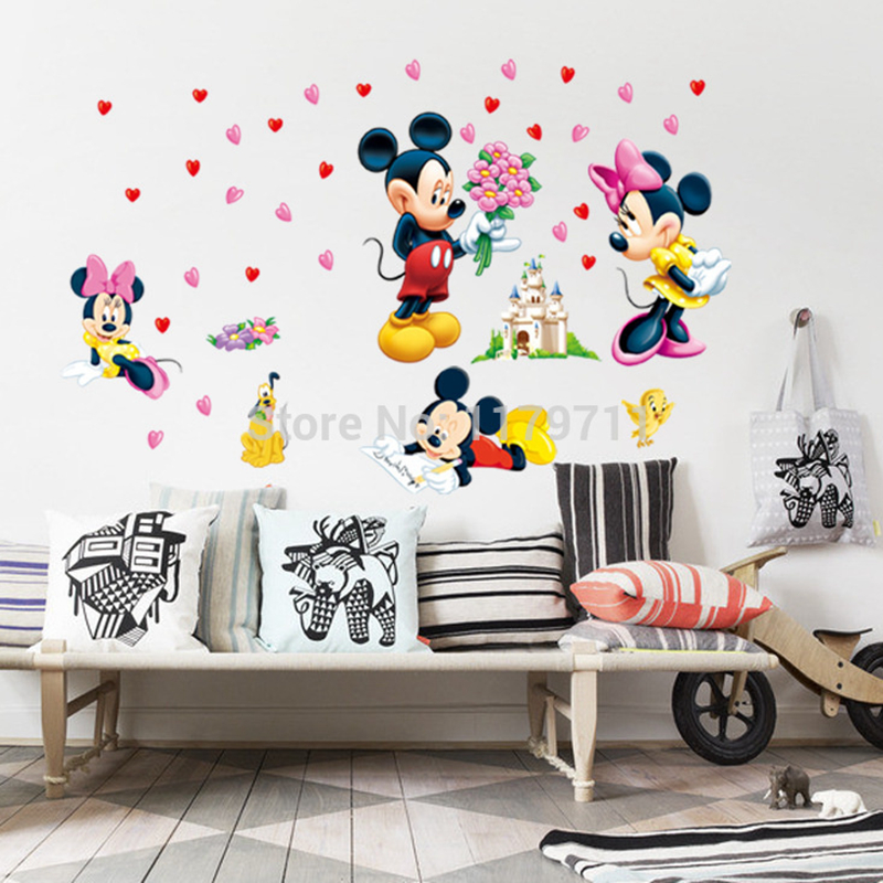 Mickey Mouse And Minnie Mouse Wall Sticker Home Decor Cartoon Wall Decal Diy For Kids Room Decal