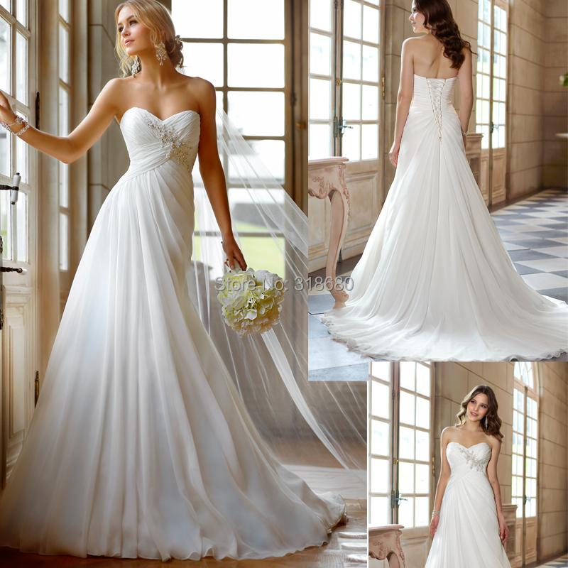 Strapless Ruched Bust Empire Waist Beach Wedding Dress