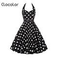 Clocolor Vintage dress dot Summer Rockabilly Dresses 50s white black A line backless dot strapless women