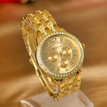 Promotion Geneva Brand Shiny Crystal watch women men fashion font b dress b font quartz wrist